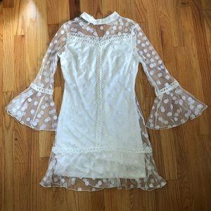 Parisian Petite Polka Dot Mesh Shift Dress